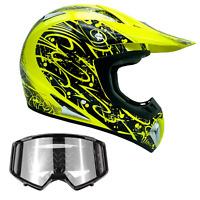 Yellow Hi-Viz Adult ATV Helmet Combo Black Goggles DOT ATV UTV Off-Road Dirt