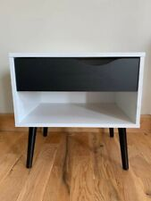 quality trendy bedside table in white and black mat single draw