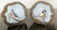 """Agate Geode Cut in Half Polished Natural Stone 4"""" dia Hand Painted Birds Signed"""