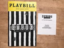 BEETLEJUICE Nov 2019 Broadway Playbill +SEAN MONTGOMERY Charles Understudy Slip!