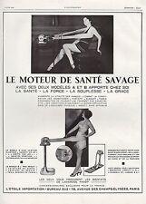 PUBLICITE APPAREIL MUSCULATION  KINE   MASSAGE SAVAGE   AD  1929