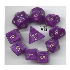 RPG Dice 10pc - Pearl Purple  - 1 @ D4 D8 D10 D12 D20 D00-10 & 4 D6