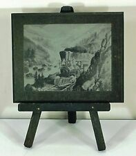 EDLAND OF RENO METAL ENGRAVING - STEAM LOCOMOTIVE IN A MOUNTAIN PASS