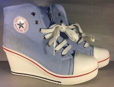MAXSTAR Women's Back Zip Light Blue, Red White Wedge Sneaker Sz 8/39