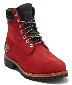 """Timberland Exclusive Mens 6"""" Inch Heritage Boots Dark Red Nubuck Leather Size 12"""