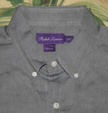 Mens Polo RALPH LAUREN Black White PURPLE LABEL Dress Shirt Made In Italy L