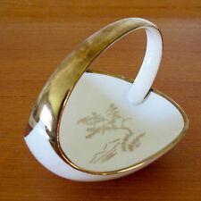 Alka Kunst Bavaria Ivory Porcelain Bon Bon Dish with Gilt Handle & Motif c.1955