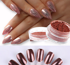 New Nail Rose Gold Mirror Glitter Chrome Powder Nail Art Pigment Manicure DIY US