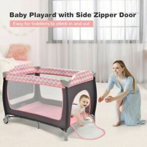 Durable 3 in 1 Portable Baby Playard with Zippered Door and Toy Bar-Pink
