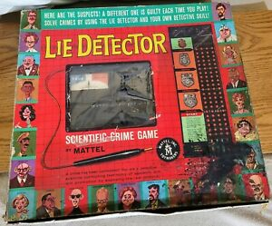 1960 LIE DETECTOR game by Mattel-Near complete Missing 1 Card Original Edition
