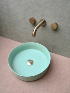 Matte Mint Green Gold copper Round 360mm Dia on top counter basin porcelain sink