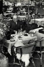 1950 HENRI CARTIER-BRESSON Man & Dog Eating Paris Bistro Photo Gravure Art 16X20