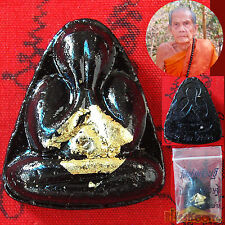 Phra PIDTA Close EYES Millionaire LP Moon Bless GOLD Leaf Gild Lucky Rich Buddha