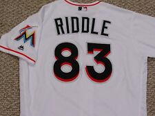 J. T. RIDDLE size 46 #83 2016 Miami Marlins Game used issued jersey home white