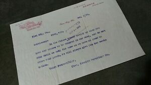 Antique 1903 AD letter head historical Kemnitz furniture Co Green Bay Wisconsin