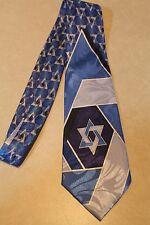 Star of David Tie Blue Jewish Blue Mens 100% Polyester Necktie!  Free Shipping