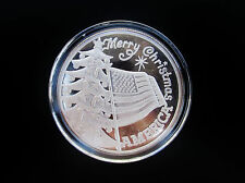 Vintage Merry Christmas America with US Flag .999 1 Oz Silver Art Round  xr7
