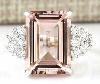 Huge Morganite Women 925 Silver Gemstone Ring Engagement Wedding Jewelry 6-10