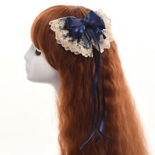 1pc Women's Lace Bow With Long Ribbon Hairclip Hairpin Lolita Cosplay Blue