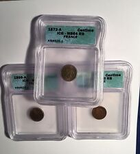 FRANCE 1 CENTIME COINS CERTIFIED ICG CHOICE UNCIRCULATED: 1872-A, 1896-A, 1879-A