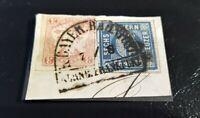 Bayern Kreuzer-Briefstück MiF 6 Kreuzer blau (10I) und 3 Kr. rot (15)/Bahnpost