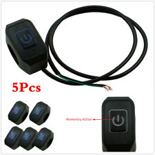 Waterproof Blue LED Switch Momentary Buttton For 22mm 7/8In Motorcycle Handlebar
