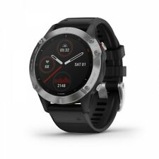 Garmin fenix 6 Silver Multisport GPS Watch with Black Band 010-02158-00