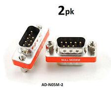 2-PACK DB9 Mini NULL MODEM Male/Male Data Transfer Adapter/Gender Changer