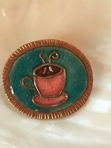 Estate Solid Copper Oval with Blue Enamel & Burgundy Steaming Coffee Cup Mug Pin