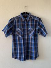 Air Walk casual short sleeve shirt sz M blue black plaid collared button down