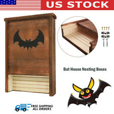 Bat House Nesting Boxes Natural Wood Bats Shelter Pre-Finished Pest Control Us