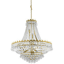 Versailles Gold 13 Light Ceiling Chandelier Pendant Fitting Trimmed With Crystal