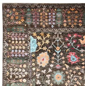 New Oushak Multi Brown 9'x12' ft Handknotted Persian Antique Silk & Area Rugs