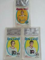 Lot of 3 VINTAGE NHL Graded 1971-72 Hockey Cards Flyers Golden Seals NICE