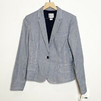 ADEC2 by Phillippe Adec Womens Blue White Striped One Button Blazer Jacket 6 40