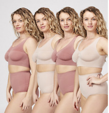 Vercella Vita Medium Control Pack of 4 Plain & Jacquard Bras, L, Sand/Rose, BNIB