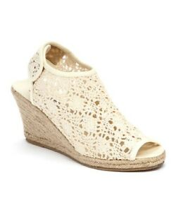 BUCCO SUMMUS beige CROCHETED WEDGE SHOES SIZE 9 NEW WITH BOX