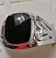 S/STEEL ~ WITH _ BLACK  _ ONYX _ STONE ~ SIZE:12 ~ RING -- (GREAT_GIFT)