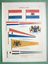 HOLLAND Coat of Arms Royal Standard Naval Flags  - 1899 Color Litho Print