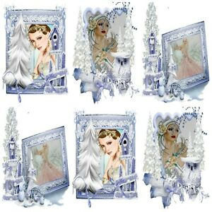 CHRISTMAS IN BLUE Card Making Toppers, Card Toppers (12)