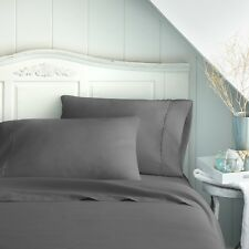 Premium Hotel Quality 4 Piece Bed Sheet Set   11 Designs Solid Queen Gray