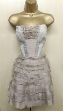 Karen Millen UK 14 Taupe Silk Tulle Tutu Strapless Bodice Prom Occasion Dress