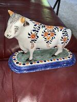 Vtg Faiences D'art Geo Martel Pottery China Bull Hand Made Porcelain