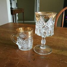 Pressed Glass Handled Tumbler And Goblet With Gold - Non Flint