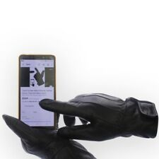 Mens Touch Screen Winter Gloves Genuine Leather with Fleece Lining
