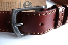 "XL (38-40"" WAIST) Genuine TIMBERLAND Brown Leather Stitch Belt MADE IN ITALY"