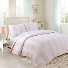 Petit Light Pink&White Striped 100%Cotton Quilt Set, Bedspread, Coverlet