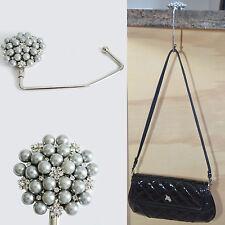 Purse Bag Handbag Hanger Holder Hook Pearl Crystal Rhinestone Gray Silver New