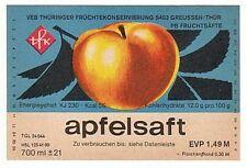 altes DDR Etikett - VEB Früchtekonservierung Greussen/ Thüringen --- Apfelsaft