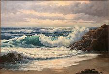 California Plein Air Seascape Painting Amy Difley Brown 22x32 Listed American